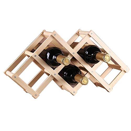 WULXYA Holzmalerei Faltbare hölzerne Tischplatte Weinregal Flasche Server für 6 Flaschen (Holzfarbe) -