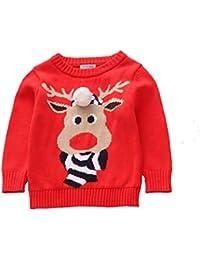 Suéter infantil de Navidad para niñas pequeñas Suéter para niños de Navidad Elk Jersey de punto de novedad