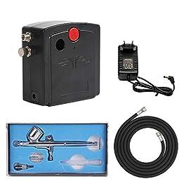 FOBUY 100-250V Compressore d'Aria per Aerografo Kit, Gravity Doppio Azione con Mini Compressore Aerografo Set,per…
