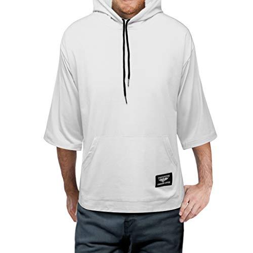 EUZeo Herren Einfarbig Halbarm Tunnelzug mit Kapuze Lose Hooded T-Shirts Kapuzenpullover Männer Casual Hoodies Sweatshirts Tops mit Große Tasche Hooded Sweatshirt Medium Baumwolle