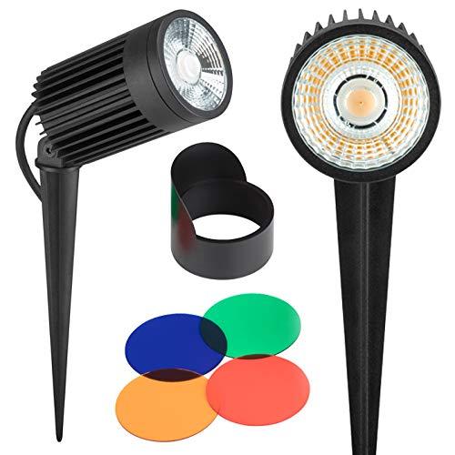 AdLuminis LED Gartenstrahler Mit Erdspiess Und Farbfilter-Set | 3W bis 30W Spot Außenstrahler Schwenkbar, Staub- und Wasserdicht nach IP67 | Gartenlampe Mit Strom-Kabel 1m (Gartenleuchte 3W)