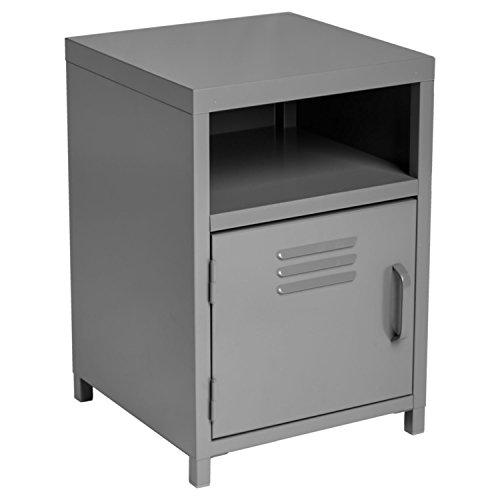 Nachttisch 1 Tür + 1 Nische - Industriedesign, Atelier, Loft - Farbe GRAU