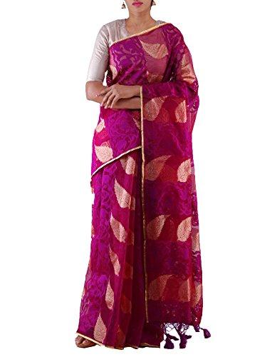 Unnati Silks Women Purple Rajasthani Net Saree with Blouse Piece, Banarasi brocade...