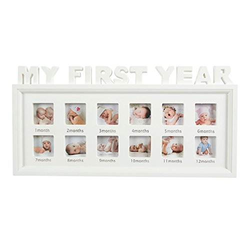 Juvale Bilderrahmen My First Year, für 12 Monate, für 12 Fotos, 41,9 x 20,3 x 2,5 cm, Weiß (Rahmen Weiß Album)