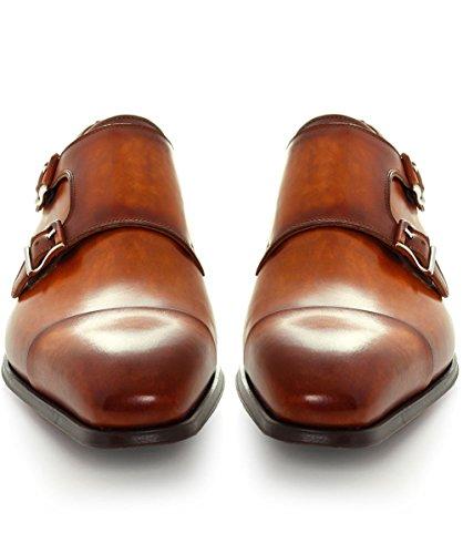 Magnanni Hommes chaussures de cuir patiné moine double sangle Brun Brun