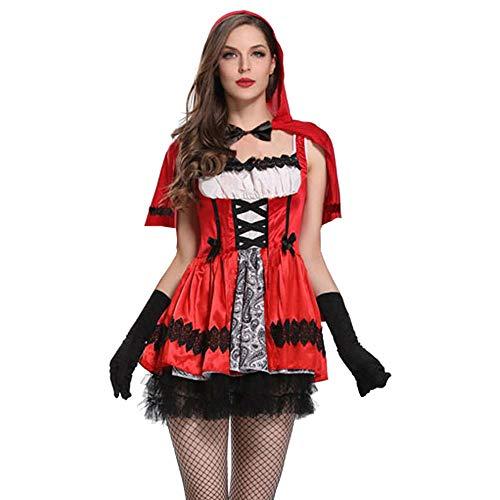 Xmiral Damen 5 Stück Gothic Kleine Rote Mütze Mit Kapuze Party Kostüm Kleid Cape Handschuhe Set(M,Rot)