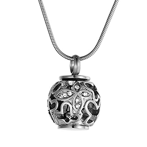 ZCBRISK Hollow Ball Butterfly Crystal Urn Pendant Necklace Memorial Keepsake Ashes Cremation Jewelry,