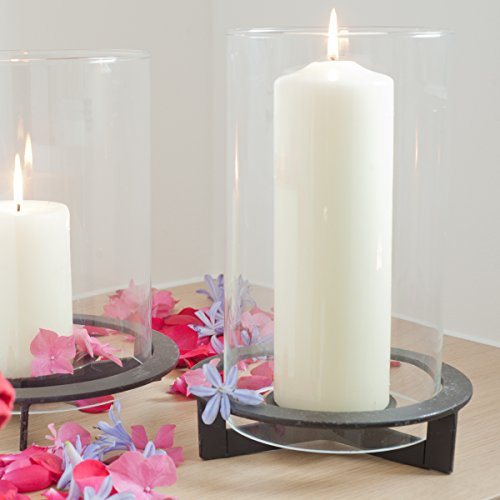 Varia Living Windlicht Nobel aus Metall | Mit extra großem Glaszylinder | Modernes Design | Für Große bis sehr Große Kerzen | schwarzer Eisenfuß | Höhe 31cm X D 19cm