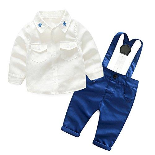Baby-Jungen Langarm-Hemd-Hosen-Kleidungs-Set mit Hosenträgern 2 Stück Gentleman-Anzug von Shiningup (2 Hosen-anzug Stück)
