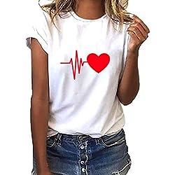 FRAUIT Blusa Suelta De Mujer Manga Corta Camiseta con Estampado De Corazones Tops Casuales Camisa del O-Cuello Top De La Moda Mujer De Camiseta Tops Mujer Verano