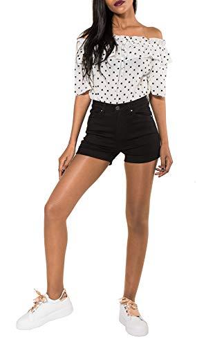 Nina Carter Damen Jeans Shorts Stretch schwarz Denim Sommer Hotpants Kurze Bermuda größe 38 Carter Jeans