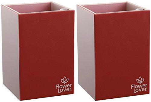 Red Square Pot (Flower lover Blumentopf für drinnen oder draußen Blume bewässernden Selbstwässernt, Passion Red, Cubico 9x9x13cm Value 2-Pack)