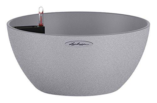 Chouette 13830–Pot concave en acier inoxydable, 30x 30x 13CM, Couleur Gris pierre