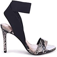6bee067931f Linzi Crystal - Natural Snake Stiletto Heel with Elasticated Upper