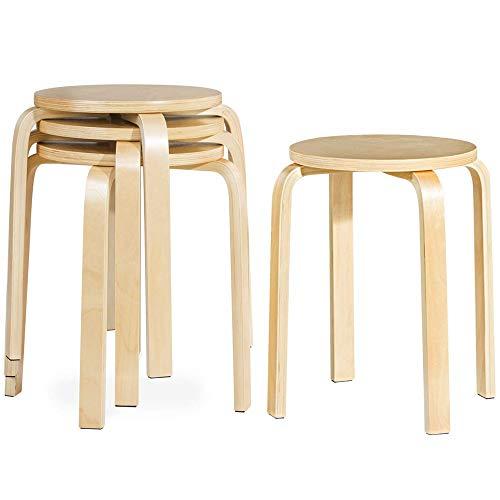 Rückenfreies Küche Hocker (LARRY SHELL 6PCS17-Zoll Bentwood Hocker rückenfreie Stühle Round Top stapelbar Holz Sitz für Esszimmer, Küche, Haus, Garten, Wohnen und Klassenzimmer -Natürlich)