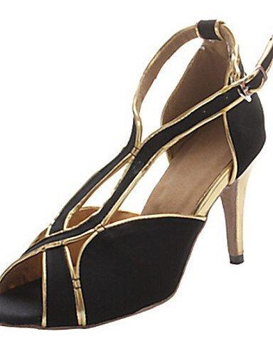 ShangYi Chaussures de danse(Multicolore / Autre) -Personnalisables-Talon Personnalisé-Satin-Latine / Jazz / Salsa / Samba / Chaussures de Swing black and red