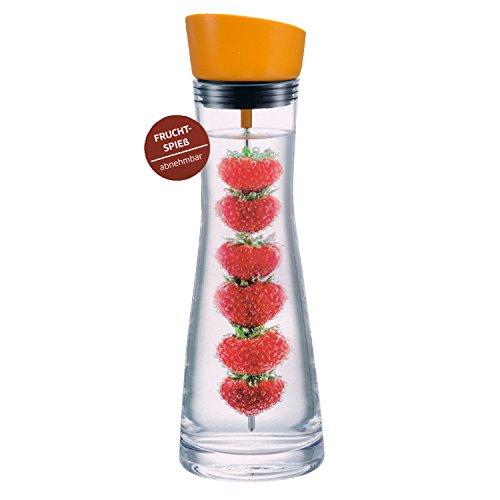 Hochwertige Glaskaraffe mit Deckel-Ausgießer orange ca. 1 Liter + Früchtespieß