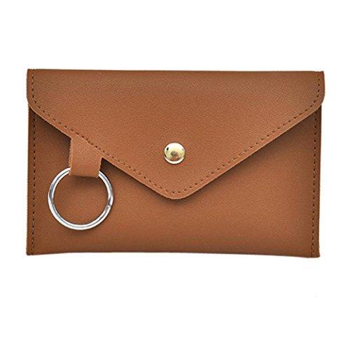 Damen Frauen Mädchen Reine Farbe Ring Leder Messenger Schultertasche Brusttasche (Braun)