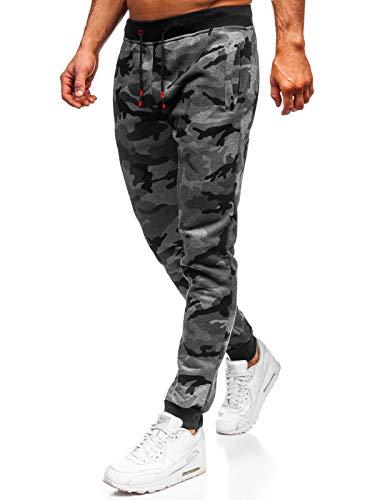 BOLF Herren Sporthose Trainingshose Jogger Military Camo Army Sportlicher Stil J.Style KZ15 Dunkelgrau XL [6F6]