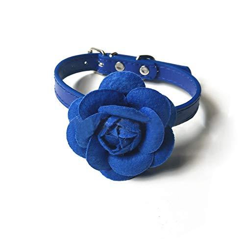 DishyKooker Rose Flower Lederhalsband mit Verstellbarer Schnalle für Small Middle Dog Teddy Blau M: 2,0 × 42 cm