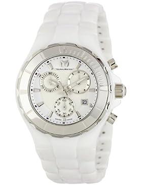 TechnoMarine Damen 110030C Cruise Ceramic Chronograph Silver-Tone Bezel weiss Uhr