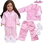 Sophia's 18 inch Doll Clothes Pajamas Light Pink Satin PJ Pants and Top Plus White Bunny Slippers for Doll