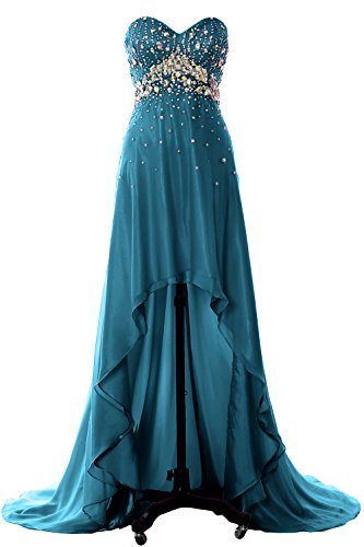 MACloth Women Hi Lo Crystal Long Prom Homecoming Dress Formal Evening Party Gown Teal