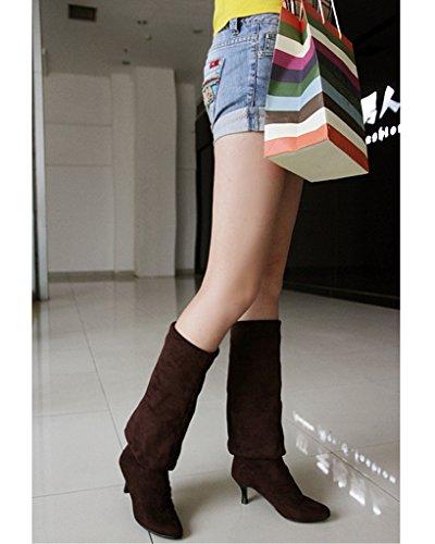 Minetom Donna Inverno Overknee Stivali Scamosciato Scarpe Scarpe a punta Lungo Stivali Moda Coscia Alto Stivali Marrone