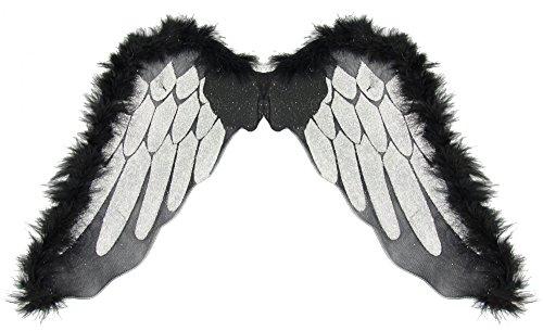 Todes Kostüm Engel Flügel - Foxxeo 35305 | schwarze Engelsflügel für Kinder und Erwachsene | Größe ca. 50 x 50 cm | schwarz mit silber Halloween Engel schwarze Flügel schwarzer Engel Horror Tod gruselig Fasching Party