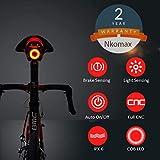 Luz de Cola para Bicicleta Inteligente Ultra Brillante, luz de Bicicleta Recargable, Encendido/Apagado automático, Luces de Bicicleta LED Impermeables IPX6 (Black)