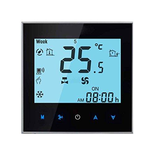 Luckiests WiFi-Fernbedienung zentrale Klimaanlage Temperaturregler 2 Rohr Programmierbarer Thermostat LCD-Touchscreen Schwarz