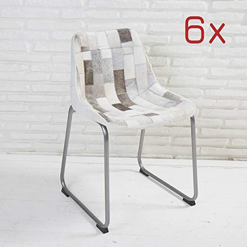 Wholesaler GmbH 6er Set Designer Esszimmerstühle Grau Bezug aus Patchwork Kuhfell Schalensitz Stuhl