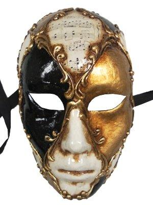 Deluxe Herren handgefertigt Full Face weiß schwarz gold Venezianische Masken mit Musik Notizen auf Top und kunstvoller Gold trimmen