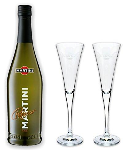 Martini-glas Charme (Martini Prosecco 10,5% 0,75l als Set mit 2 original Kelch Gläsern in Flötenform und 0,1 Liter Inhalt)