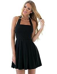 Lookbook Store® Damen Schwarzes Schulterfreies Ärmelloses Eislaufkleid mit Nackenband Reißverschluss Einfarbig