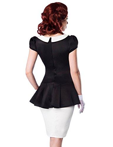 Belsira - Robe - Peplum - Manches Courtes - Femme Multicolore Multicolore - Noir/blanc