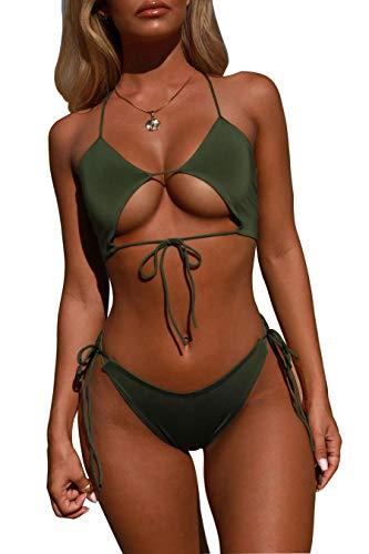 Aelle Damen Bikini Set Zwei Stücke, Sexy Dreieck Badeanzug Volltonfarbe Openwork Bademode Frauen Schwimmen Kostüm Klassische Einfache Beachwear (M, Grün)