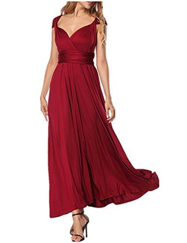 SELUXU Damen langes Infinity Transformer Abendkleider hohe Taille Cabrio Multiway-Kleid Wrap Brautjungfer Rückenfrei formale sexy Maxikleide Sommerkleider für S-XL - Prom Lang Rote Kleid