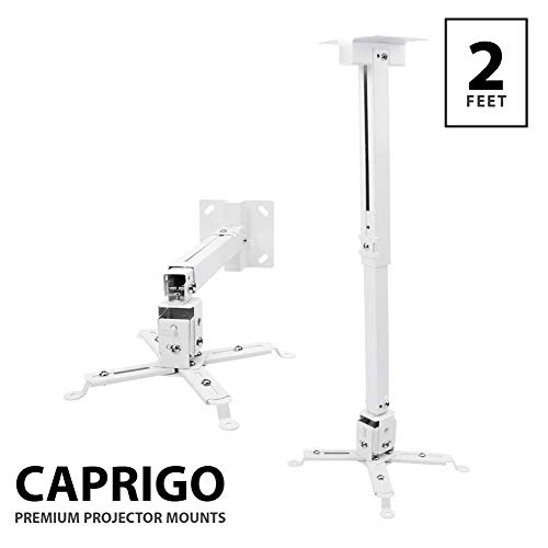 Caprigo Universal Heavy Duty 2 Feet Projector Ceiling and Wall Mount Stand Adjustable Bracket (White : Weight Capacity - 15 Kgs : M447)