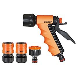 Claber 8551 Set Lance a Pistola con Raccordi, 1/2 Pollici, Nero/Arancione