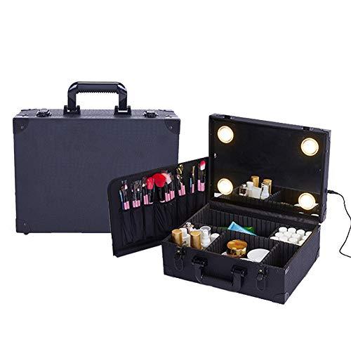 Valise de Maquillage Mallette Rangement Avec Voyage Miroir Grande Organiseur Partition Détachable Valise Autocollant Magique Boîte à Outils