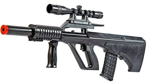 Nerd Clear Softair-Gewehr Sturmgewehr Steyr Aug im Bullpup Style Spielzeug Waffe max. 0,5 J im Set mit 6 mm