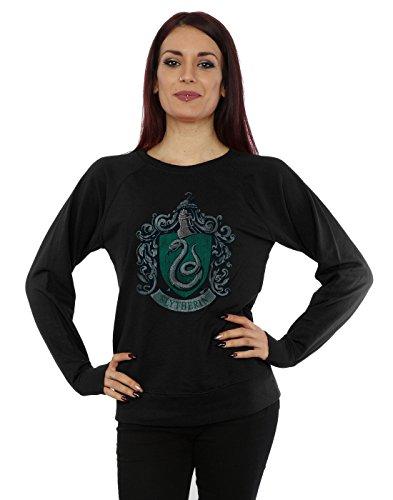 Harry Potter Damen Slytherin Distressed Crest Sweatshirt Small Schwarz Crest Pullover Sweatshirts