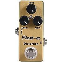 Lwieui Efectos de Guitarra Efectos de distorsión de la Guitarra eléctrica Pedal Completo el Metal Shell True Bypass con 3 mandos funcionales Distorsión y Overdrive (Color : Gold, Size : One Size)