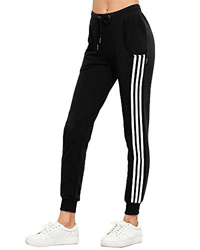 Minetom Femmes Jogging Yoga Fitness Leggings Rayures Pantalon de Sport Décontracté Sweatpants avec Cordon de Serrage Noir EU S