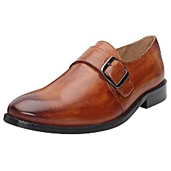 BRUNE Tan Color 100% Genuine Leather Single Monk Strap Shoes For Men size-10