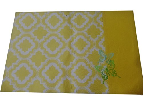 Schmetterlings-tisch-set (Lenox Butterfly Meadow gesticktes Schmetterling-Gitter Tisch-Sets Gelb Set von 4)
