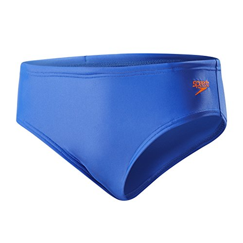 Speedo Jungen Essential Logo Brief, Blau (Amparo Blue/Fluo Orange), 128