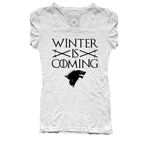 T-shirt donna stark winter is coming game of thrones serie tv il trono di spade tv series pd1457a pacdesign