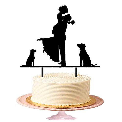 Bräutigam Braut in seinem Arm mit zwei Hunde Hochzeit Tortenaufsatz Acryl zu beobachten Kuchen Topper in Schwarz glänzend